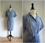 """Nancy Frock"" blue floral thin cotton day dress"