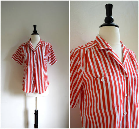 Bold red and white vertical stripe collared blouse