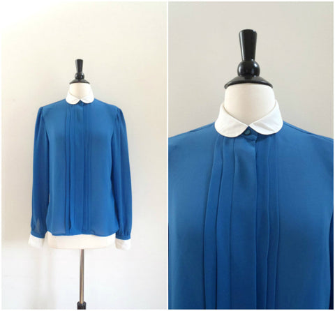 Blue chiffon blouse with white peter pan collar