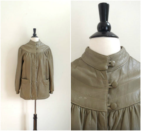Mario Conti Light brown Italian leather swing coat