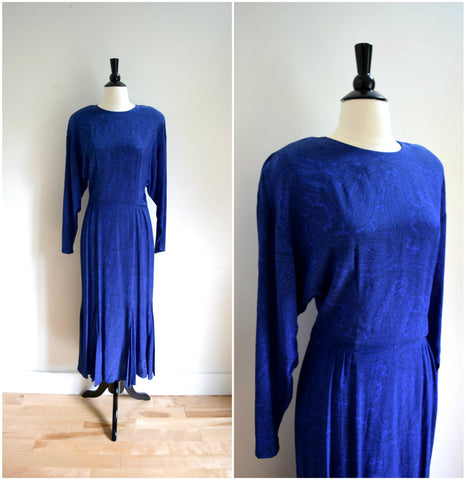 Royal blue paisley evening gown