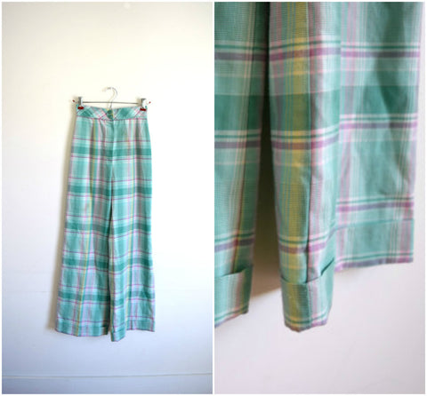 Bobbie Brookes pastel green plaid high waisted pants