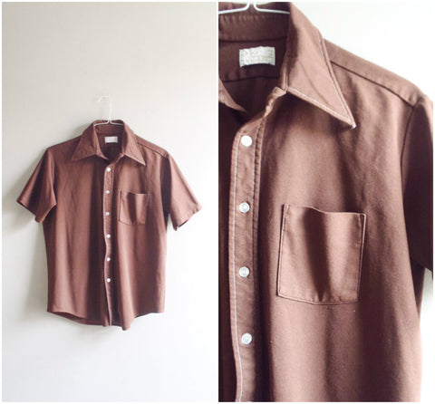 Men's retro brown button down short sleeve shirt