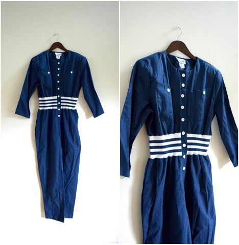 Navy blue striped jumpsuit with striped ribbed knit waist