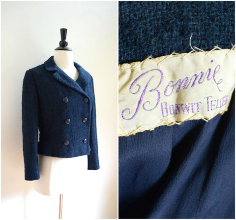 Bonwit Teller navy blue boucle jacket