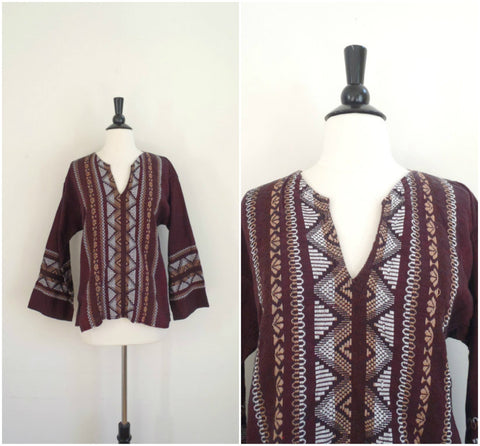 Embroidered maroon bell sleeved embroidered blouse