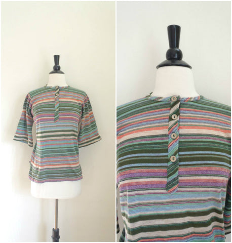 Green striped Henley bell sleeve tee