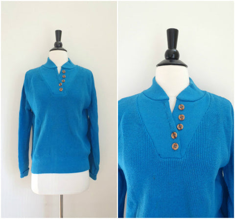 Lands End blue knit top with wooden buttons