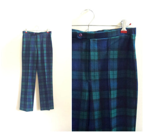 Tartan plaid high waisted stretchy pants