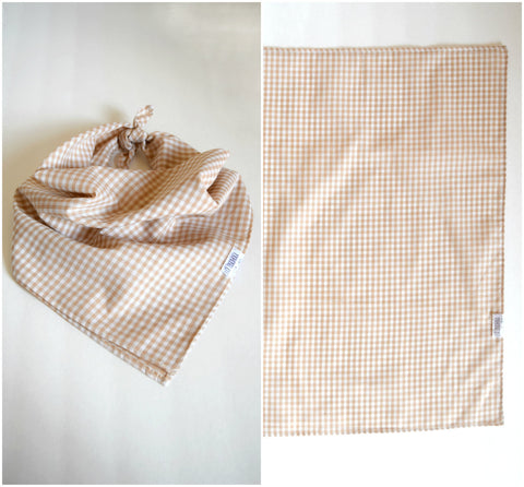 The Vintage Tan Gingham Bandana Scarf - handmade vintage plaid fabric neckerchief