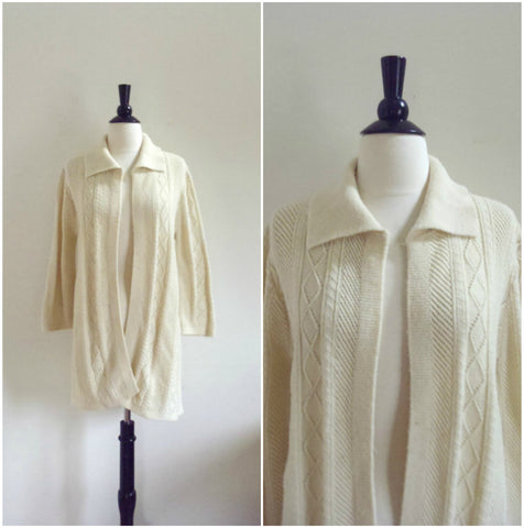 Long oversized white knit cardigan