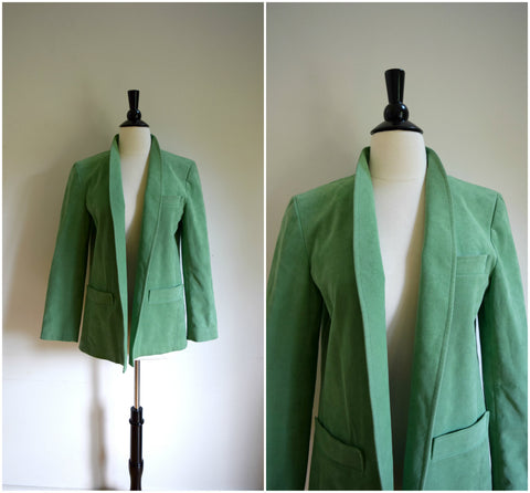 "Retro green ""ultra suede"" blazer"