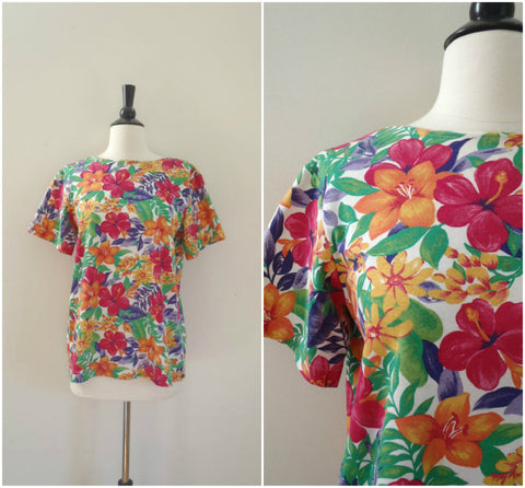 Hawaiian bright floral tee