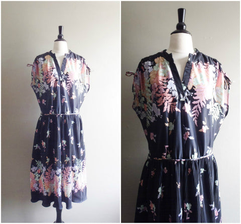 Black floral ruched shoulders dress