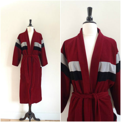 Retro maroon varsity stripe bathrobe