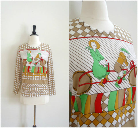 Tandem bicycle retro checkered pattern shirt