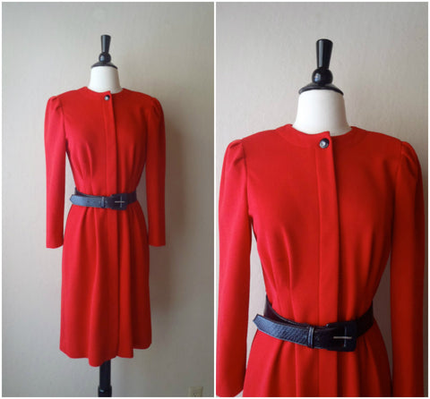 SALE Red belted long sleeve knit dress