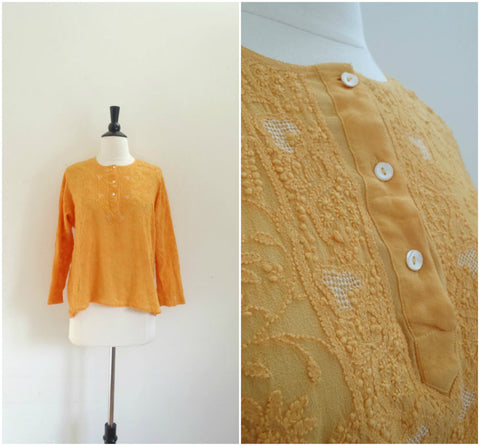 Silk delicate embroidered dark yellow blouse