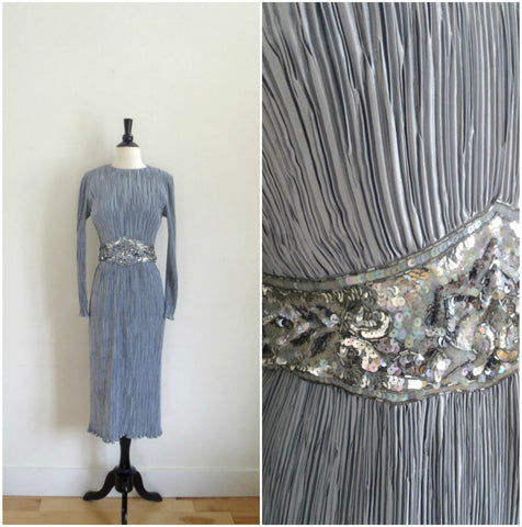Silver accordion pleated sequined evening gown