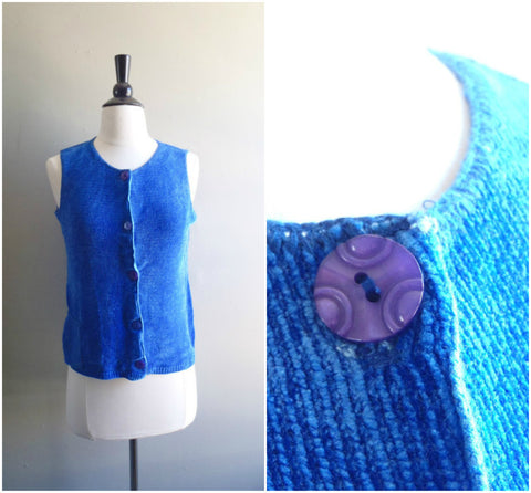 Blue velvet knit vest top