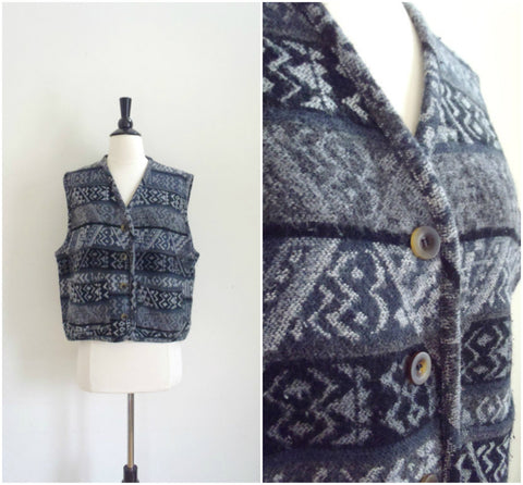 Tribal print wool vest