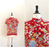 Asian style garden print button down top