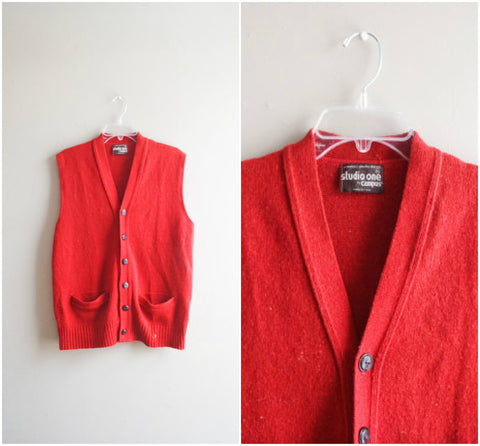 Men's rust orange wool sweater vest