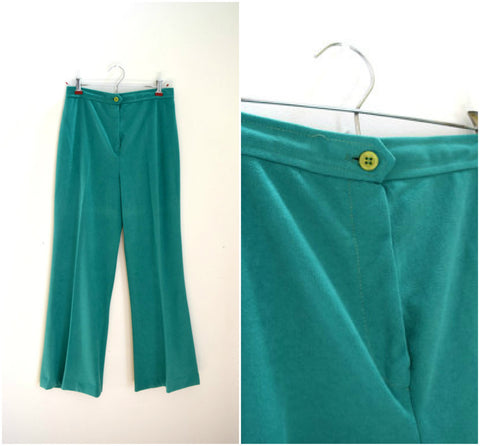 Green high waisted velour wide legged pants