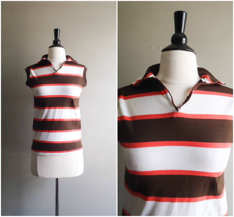 SALE Retro athletic striped shirt