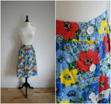 Bright daisy floral button down skirt