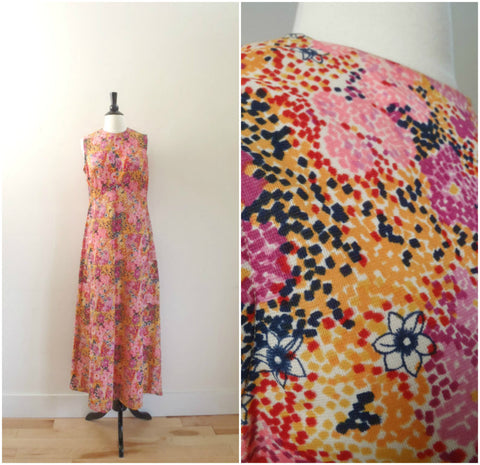 Sleeveless pink and yellow floral empire waist maxi dress
