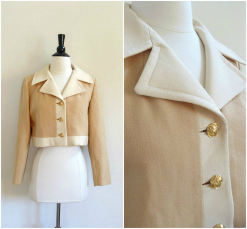 Carlson Originals tan and beige cropped jacket