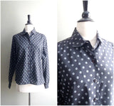 Vintage black and white diamond print blouse / polka dots long sleeve button down shirt