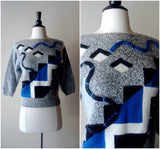 Vintage angora retro geometric shapes sweater / soft grey jumper / cropped fit sweater