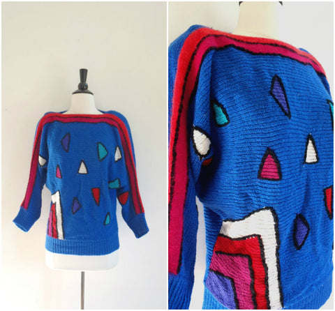 Vintage angora royal blue bright geometric pattern sweater / retro triangles pullover jumper