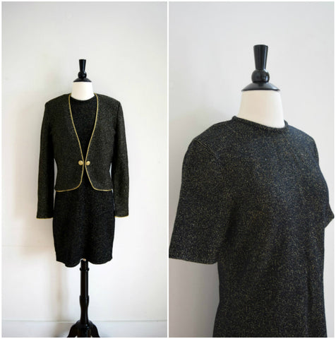 Vintage black and gold boucle wool knit dress and jacket set / evening dress with sweater / sweater dress