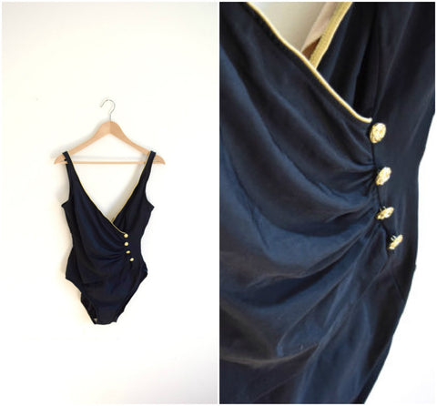 Vintage retro black and gold one piece bathing suit / ruched button detail swimsuit / vintage swimwear / women's tall