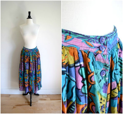 Vintage tropical style maxi skirt / bohemian ocean pattern long skirt / colorful beach skirt