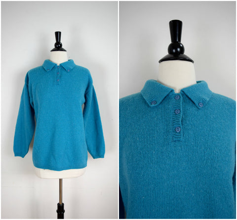Teal blue pullover wool sweater