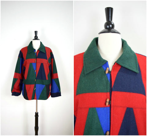 Bright patchwork wool coat with wood toggle buttons