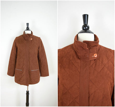 Brown quilted sweater lined jacket