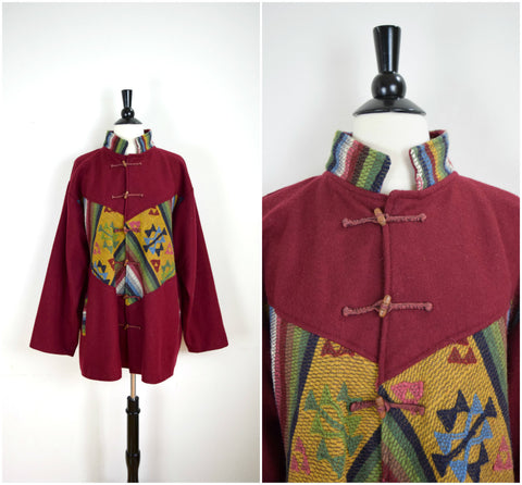 Kilim pattern dark red wool hippie coat