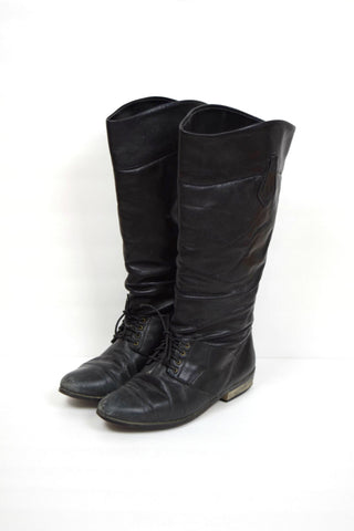 L.L. Bean black laceup tall slouchy leather riding boots