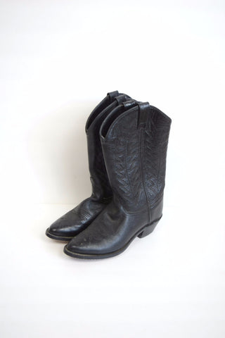 Black leather cowboy boots