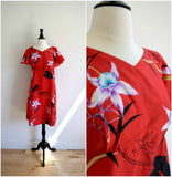 Hawaiian red floral day dress