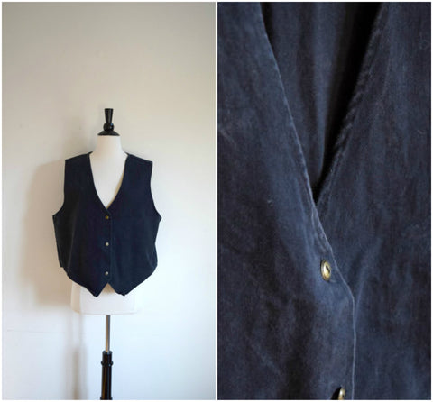 Black denim button front vest