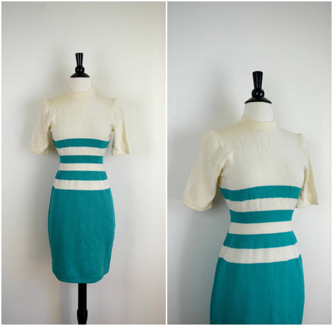 St. John by Marie Gray teal and white striped sweater dress