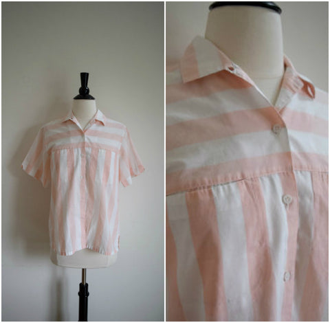 Pale pink and white striped collared blouse
