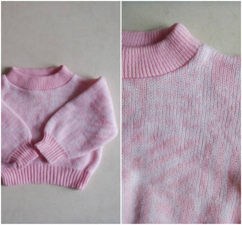 Vintage children's retro pink pullover sweater / 12 months knit jumper / retro baby top