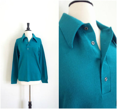 Teal knit collared shirt
